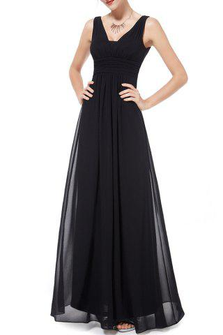 Empire Waist Backless Maxi Evening Dress