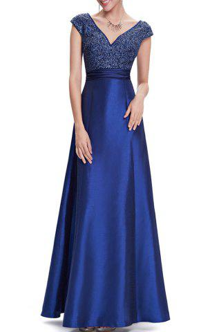 Outfit V Neck Satin Maxi Skater Formal Evening Dress