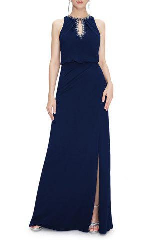 Fancy Keyhole Slit Maxi Prom Evening Dress DEEP BLUE S