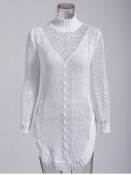 Long Sleeve Hollow Out Short Jumper Dress - WHITE