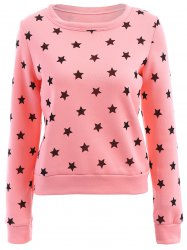 Sweet Style Round Collar Long Sleeve Stars Print Women's Sweatshirt -