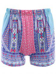 Ethnic Style Elastic Waist Colorful Printed Women's Shorts - COLORFUL