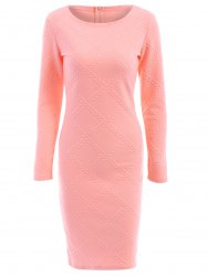 Graceful Round Collar Long Sleeve Pink Printed Bodycon Midi Dress For Women -