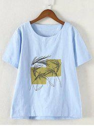 Refreshing Plus Size Embroidered Appliqued T-Shirt -