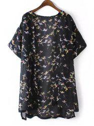 Chic Plus Size Bird Print High-Low Hem Kimono