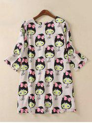 Cute Plus Size 3/4 Sleeve Cartoon Print Dress