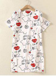 Plus Size Red Lip Print Shift Mini T Shirt Dress