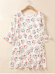 Plus Size Flare Sleeve Animal Kitten Print Mini Dress