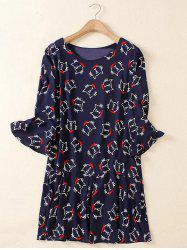 Cute Plus Size Flare Sleeve Kitten Print Dress