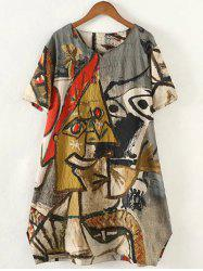 Retro Plus Size Abstract Pattern Baggy Dress -