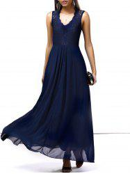 Lace Chiffon Sleeveless A Line Full Length Prom Dress - DEEP BLUE