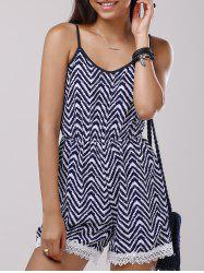 Lace Splicing Zigzag Pattern Cami Romper - PURPLISHBLUE + WHITE
