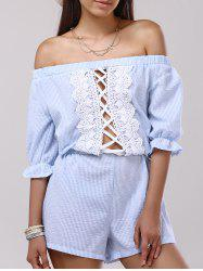 Off The Shoulder Crochet Insert Striped Pants Romper -