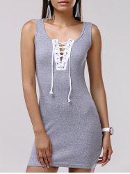 Lace Up Bodycon Tank Dress