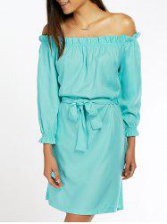 Off The Shoulder Ruffled Belted Neon Dress