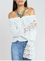 Off The Shoulder Crochet Trim Bell Sleeve Blouse