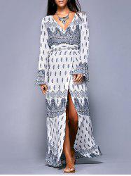 Bohemian Long Sleeves Printed Wrap Dress For Women -