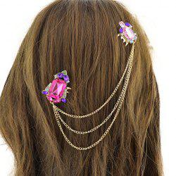 Vintage Rhinestone Chains Hair Comb For Women - GOLDEN
