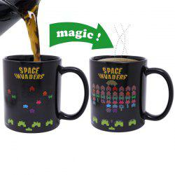Amazing Space Invader Game Pattern Ceramic Heat Sensitive DIY Color Changing Mug For Gifts