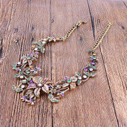 Vintage Embellished Rhinestoned Floral Necklace