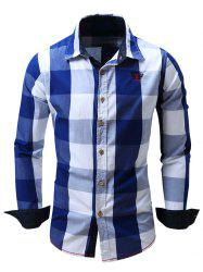 Turn-Down Collar Plaid Pattern Long Sleeve Shirt For Men - BLUE