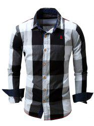 Turn-Down Collar Plaid Pattern Long Sleeve Shirt For Men - BLACK