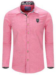 Turn-Down Collar Embroidery Long Sleeve Shirt For Men