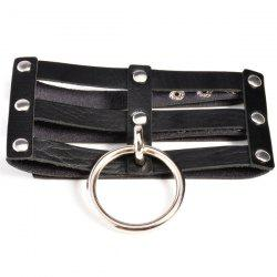 Punk Style Layered Faux Leather Circle Necklace - BLACK