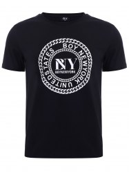 BoyNewYork Letters Chain Pattern Solid Color T-Shirt - BLACK XL