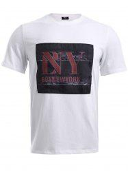BoyNewYork Letters Applique T-Shirt - WHITE XL