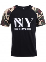 BoyNewYork Letters Print Camo Spliced T-Shirt - BLACK XL