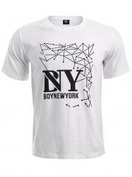 BoyNewYork Geometric Pattern Short Sleeves T-Shirt - WHITE XL
