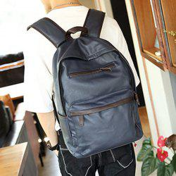 Casual Dark Color and PU Leather Design Backpack For Men - BLUE