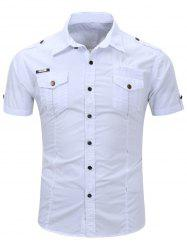 Fashionable Turn-Down Collar Pocket Design Cargo Shirt For Men - WHITE