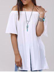 Split Off The Shoulder Chiffon Blouse