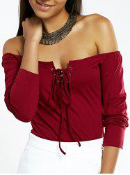 Off The Shoulder Lace-Up Long Sleeve Top