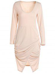 Scoop Neck manches longues Crossover Hem Robe moulante - ROSE PÂLE