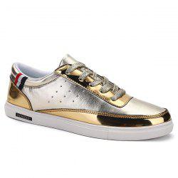 Trendy Metallic Color and Lace-Up Design Casual Shoes For Men -