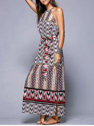 Bohemian Side Slit Belted Women's Dress -