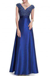 V Neck Satin Maxi Skater Formal Evening Dress -