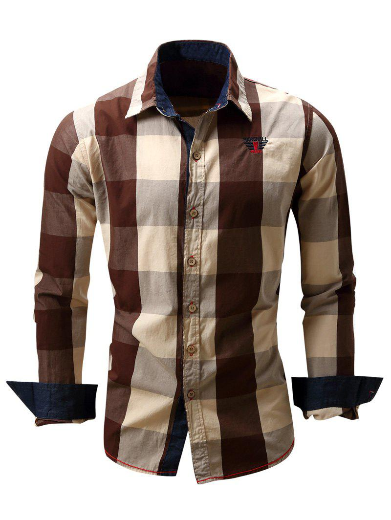 Sale Turn-Down Collar Plaid Pattern Long Sleeve Shirt For Men