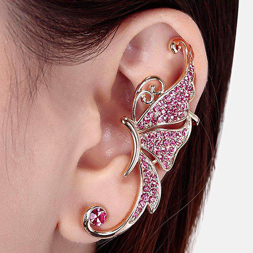 One Piece Rhinestone Butterfly Ear CuffJEWELRY<br><br>Color: PINK; Earring Type: Ear Cuff; Gender: For Women; Material: Rhinestone; Metal Type: Alloy; Style: Trendy; Shape/Pattern: Animal; Weight: 0.032kg; Package Contents: 1 x Earring(One Piece);