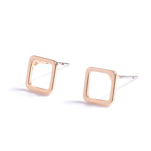 Fancy Pair of Chic Style Hollow Out Solid Color Rounded Rectangle Earrings For Women