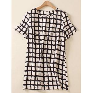 Plus Size Brief Plaid Print Shift Blouse