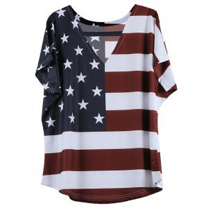 V-Neck Short Sleeve Distressed American Flag T-Shirt - Blue And Red - 5xl