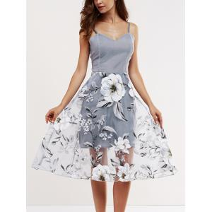 Voile Splicing Floral Print Cami Dress - Gray - M