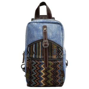 Leisure Patchwork and Buckle Design Backpack For Men - Denim Blue - Xl