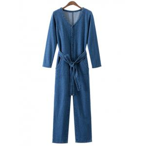 V Neck Solid Color Loose Fitting Denim Jumpsuit