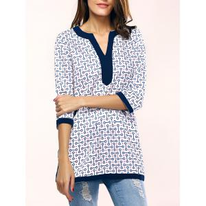 Chic Geometric Pattern Side Split Long T-Shirt For Women - Blue - M
