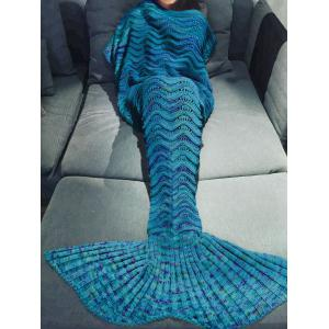 Comfortable Multicolor Knitted Throw Mermaid Tail Design Blanket For Adult - Blue